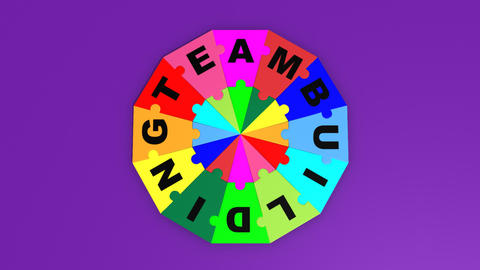 3d puzzle falling in circle the word teambuilding Animation