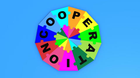 3d pieces falling forming in circle the word cooperation Animation