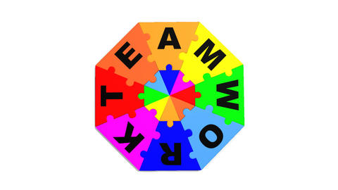3d puzzle showing in circle the word teamwork Animation