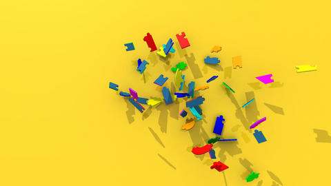3d colourful pieces forming the title teamwork Stock Video Footage
