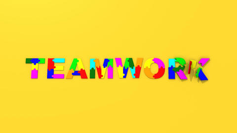 3d colourful pieces forming the title teamwork Animation