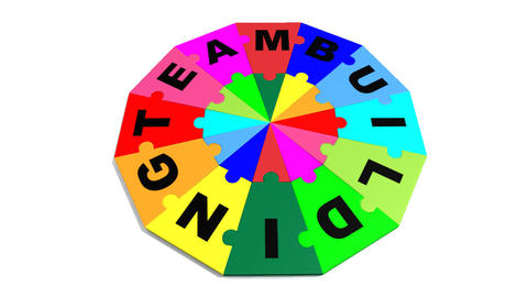3d circle puzzle showing the word teambuilding Stock Video Footage
