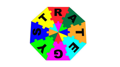 3d colourful circle puzzle showing the word strategy Animation