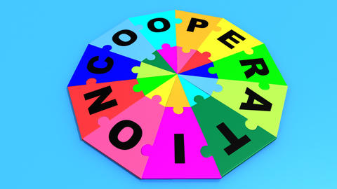 3d colouful pieces falling in circle showing cooperation Animation
