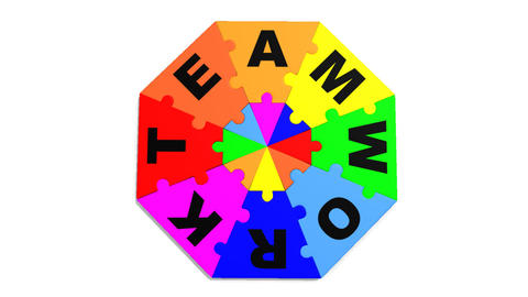 3d colourful pieces forming in circle the word teamwork Animation