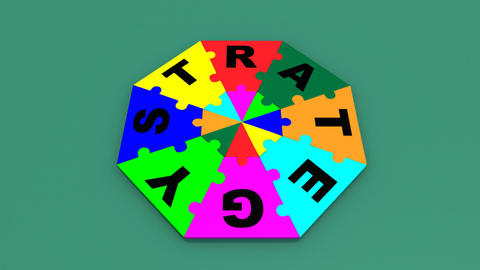 3d colourful pieces forming strategy Animation