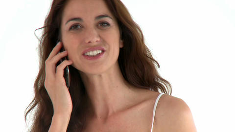 Charming hispanic woman talking on phone Stock Video Footage