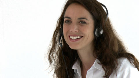 Positive hispanic woman wearing headset Footage