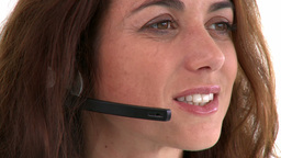 Pretty hispanic businesswoman wearing headset Footage