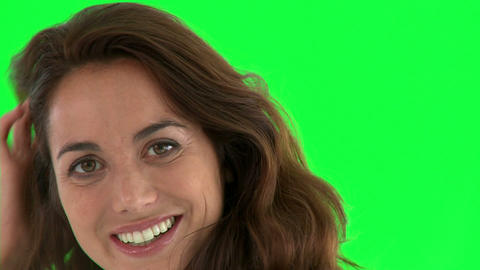Close up of an attractive hispanic woman smiling a Footage
