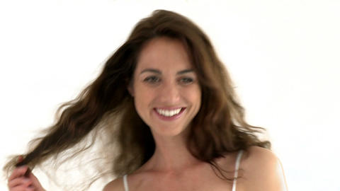 Gorgeous woman playing with the camera and touchin Stock Video Footage