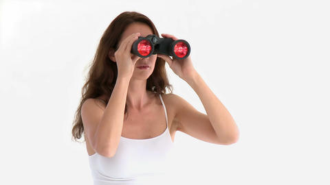 Assertive hispanic woman looking through binocular Stock Video Footage