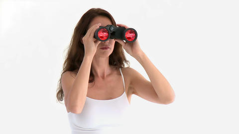 Assertive hispanic woman looking through binocular Stock Video Footage