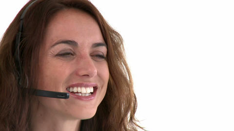 Cheerful hispanic businesswoman wearing headset Footage