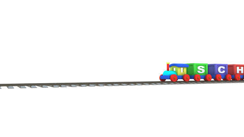 Animation of a 3d train carrying school letters Animation