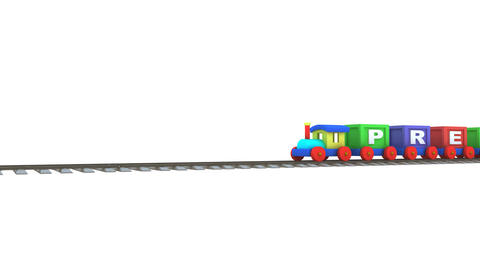 Animation of a 3d train carrying preschool letters Animation