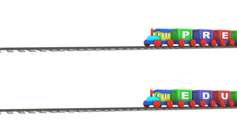 Animation of two 3d trains carrying preschool and  Animation