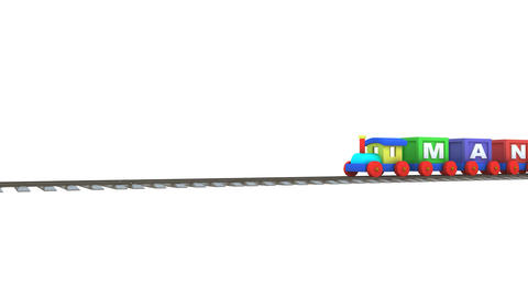 Animation of a 3d train carrying management letters Animation