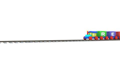 Animation of a 3d train carrying recycle letters Animation