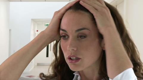 Woman having headache Footage