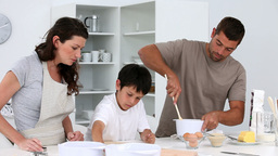 Family baking cakes Stock Video Footage