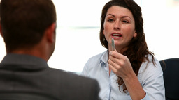Interview between a businesswoman and a man Stock Video Footage