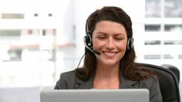 Woman operator smiling Stock Video Footage