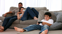 Family together on the sofa Stock Video Footage