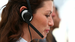 Woman operator in a conference call Footage