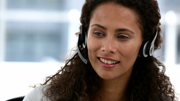 Woman in a conference calling Stock Video Footage