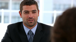 Businessman talking with someone Stock Video Footage