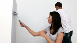 Couple painting wall Footage