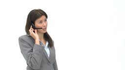 Businesswoman on the phone with earpiece Footage