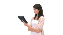 Woman using her computer tablet Stock Video Footage