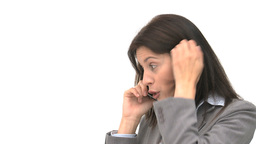 Angry businesswoman talking on the phone Footage