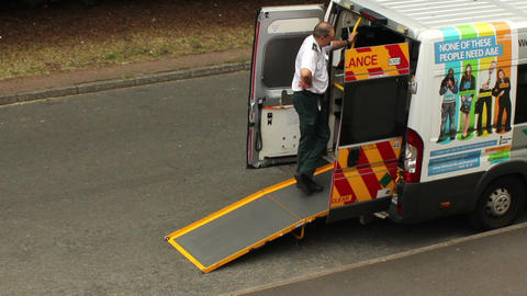 Paramedic Talking To Someone In Ambulance stock footage