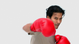 Man with boxing gloves Stock Video Footage