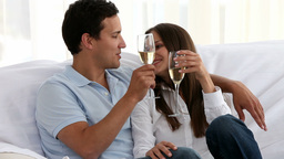 Couple drinking Champagne together Footage