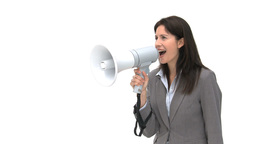 Businesswoman shouting through megaphone Footage