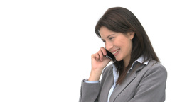 Smiling businesswoman talking on the phone Footage