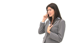 Angry businesswoman talking on the phone Stock Video Footage