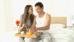 Lovely couple having breakfast Footage