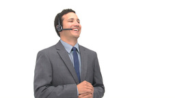 Happy man talking with headphones Footage