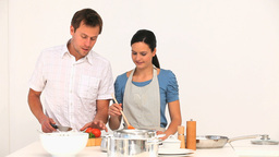 Couple preparing to cook together Footage