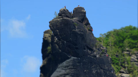 free climbing mountain rock tilt shift time 11436 Stock Video Footage