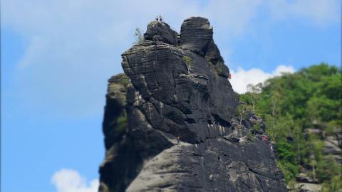 free climbing mountain rock tilt shift time 11436 Stock Video Footage