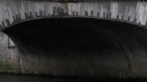 1511 Paris France on River Under Bridge Stock Video Footage