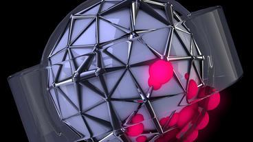 4k sci-fi ribbon surround metal tech digital ball &... Stock Video Footage