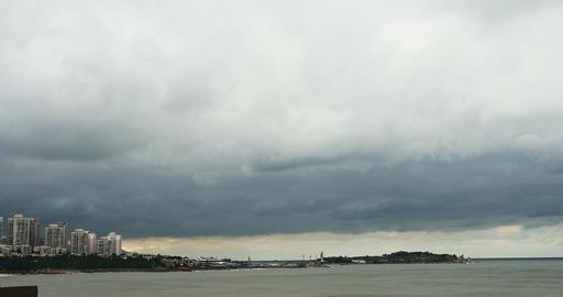 4k city coastal beach coast cloud cloudscape&building... Stock Video Footage