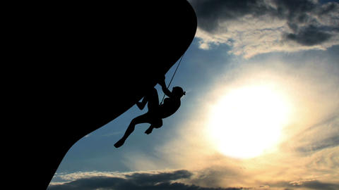 1603 Rock Climber Silhouette Animation, HD Footage